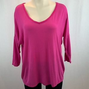 Kit and Ace Pink Jersey V-Neck 3/4 Sleeve Shirt 6